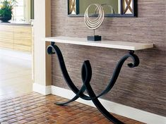 COURCELLES CONSOLE TABLE Forged steel with limestone top. Wall mounted Dimensions: x x (as pictured) or x Finishes: Forged Steel with black wax polish Iron Furniture, Home Decor Furniture, Unique Furniture, Diy Home Decor, Furniture Design, Room Decor, Entryway Console Table, Modern Console Tables, Entryway Decor
