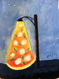 Pizza lamp  #painting #watercolor #watercolorpainting #pregnanthobby #pregnantactivity