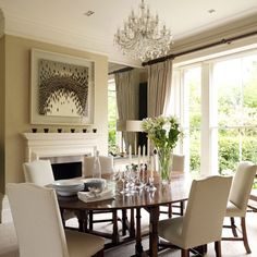 Dark wood and neutral dining room