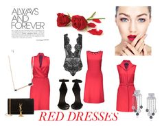 Red Dresses by laurennmcwilliams on Polyvore featuring Agent Provocateur, Isabel Marant, Yves Saint Laurent, Ivanka Trump, Sydney Evan, women's clothing, women's fashion, women, female and woman