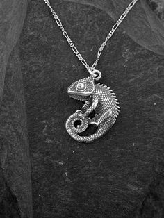 Sterling Silver Chameleon Pendant on a Sterling by peteconder