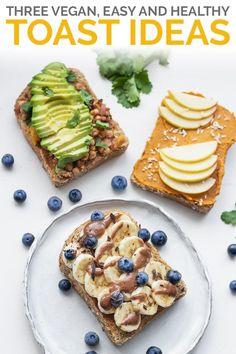 Switch up your usual toast toppings with these three vegan toast recipes. Featuring a chocolate tahini sauce with fruit, pumpkin spread, and avocado with pinto beans for a savoury option. Healthy Vegan Snacks, Vegan Recipes Easy, Vegan Food, Raw Vegan, Vegetarian Breakfast, Healthy Breakfast Recipes, Avocado, Food Porn, Breakfast On The Go
