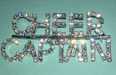 Rhinestone Bling CHEER CAPTAIN Pin by VarsityChic on Etsy, $5.99