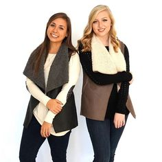 Faux Fur Sherpa Vest! Comes in black or taupe! www.suedeboutique.com