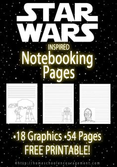Want to help make the next writing assignment more fun? Here are FREE printable Star Wars notebooking pages that can be used for letters, assignments, notebooking and more.