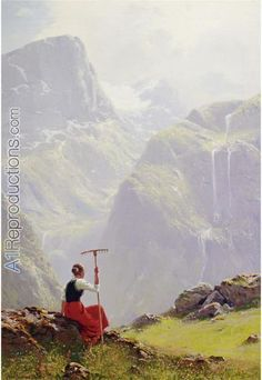 High In The Mountains Hans Andreas Dahl Beautiful Paintings, Beautiful Landscapes, Landscape Art, Landscape Paintings, Scandinavian Art, Portraits, Dahl, Artist Art, Great Artists