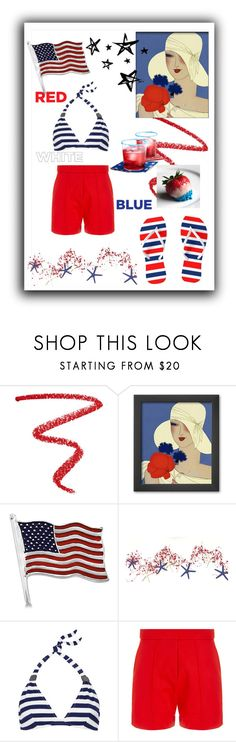 """Red White & Blue, Look in Your Looking Glass, You're Not a Child Anymore"" by rehtaeh69 ❤ liked on Polyvore featuring NARS Cosmetics, Allurez, Eda and Wood Wood"
