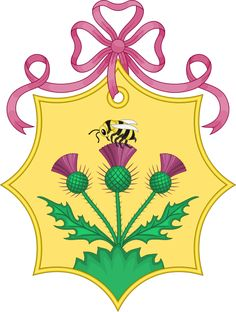 A bee and thistles feature in the coat of arms of Sarah Ferguson prior to her marriage to Prince Andrew, Duke of York.