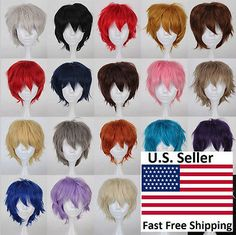 UNISEX Anime Fashion Short Straight Hair Wig Cosplay Party Full Wigs USA