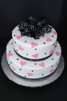 Bridal Shower, Birthday or Wedding Cake. Pink hearts and polka dot silk bow and ribbon. www.sugarhillsbakery.com