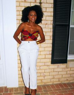 Its african inspired. high waisted slacks and ankara crop top.