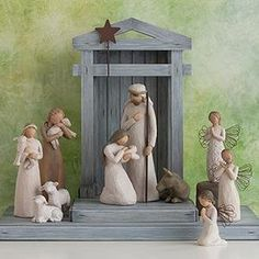 Nativity Figurines from Willow Tree. Shop our four classic nativity sets as well as numerous nativity figurines. Official site of Willow Tree by Susan Lordi. Willow Tree Nativity Set, Willow Tree Family, Willow Tree Figurines, Nativity Sets, Willow Tree Krippe, Lds, Rustic Backdrop, Master Of Fine Arts, Cypress Trees