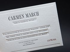 Invitaciones Carmen March. Printed by Omán. #letterpress