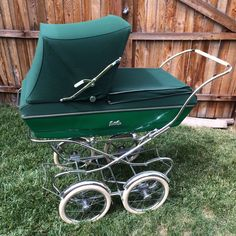 Antique Bilt Rite Baby Carriage STROLLER BUGGY Pram GREEN Beautiful #BiltRite