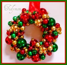Glass balls wreath, originally from http://tidymom.net/2009/christmas-craft-glass-ball-ornament-wreaths/