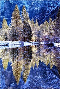 Yosemite National Park next to Merced River; California - USA Beautiful reflection!!! :)