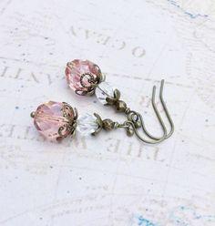 Pink Earrings Crystal Earrings Victorian Earrings by SmockandStone