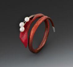 Calla - copper, silver, colored pencil, freshwater pearls