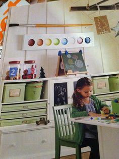 kids art room ideas | Love the giant paint tray and brush | Kids Room Art Ideas