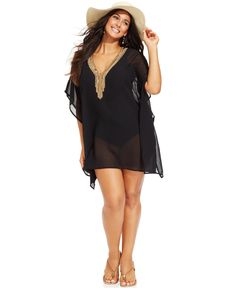 Raviya Plus Size Sheer Beaded-Neck Tunic Cover Up - Resort Wear - Plus Sizes - Macy's