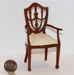 Walnut Traditional Arm Chair | Dollhouses and More