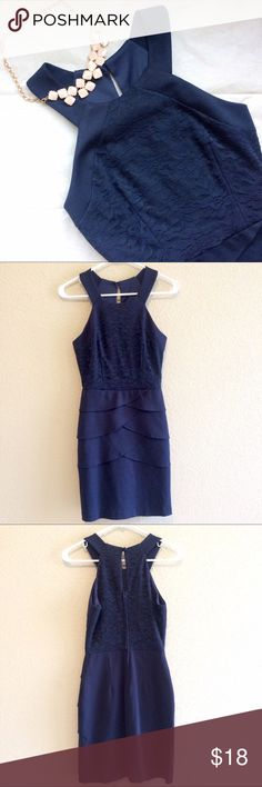 TeezeMe royal blue bodycon dress Description: Royal blue racerback dress. Top is a floral lace, bottom features a few ruffles. Small keyhole back & zip closure. Very beautiful! Size: 3 Brand: TeezeMe Condition: Worn but good condition. A few minor snags in lace that's not noticeable. Teeze Me Dresses