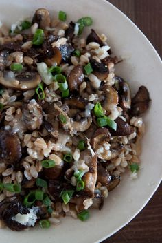 Mushroom, Farro and Fontina Salad on Whats Gaby Cooking! Easy and if vegan eliminate Fontina - added diced kalamatas might add a nice pop!
