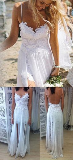 White Boho Spaghetti Straps Lace Long Beach Wedding Dress,Backless Bridal sold by Tidedress. Shop more products from Tidedress on Storenvy, the home of independent small businesses all over the world. Blush Pink Wedding Dress, Wedding Dress Types, Long Wedding Dresses, Bridal Dresses, Wedding Gowns, Backless Wedding, Wedding Ceremony, Affordable Wedding Dresses, Back Home