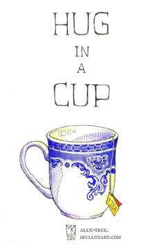 Hug in a Cup 2 by watercolor artist, Maia Kobabe -- *red-gold-sparks on deviantART
