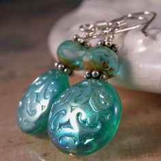 Sea Green Scroll Glass and sterling silver art deco earrings