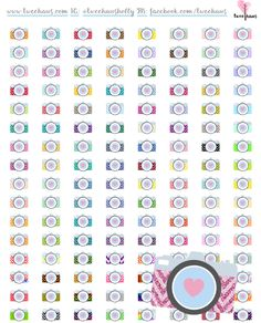 Free printable planner stickers perfect for photographers or scrapbookers. Adorable camera stickers that are so colorful. Just download, print, and cut!