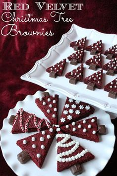 Red Velvet Christmas Tree Brownie Recipe! See more party ideas and share yours at CatchMyParty.com #catchmyparty #partyideas #christmasrecipe #christmastreebrownies