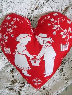 Heart Pillow Red and White Vintage Boy and Girl by WillowTreasures, $8.00