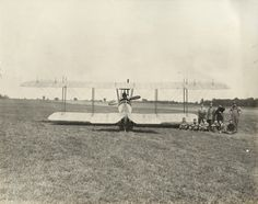 Lawson Tractor Biplane with Crew   Photograph   Wisconsin Historical Society