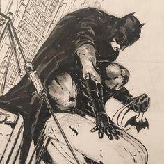 Awesome looking inkwash drawing by year Kubert. I Am Batman, Batman Vs Superman, Batman Arkham, Batman Drawing, Batman Artwork, Comic Style Art, Comic Art, Marvel Heroes, Marvel Vs