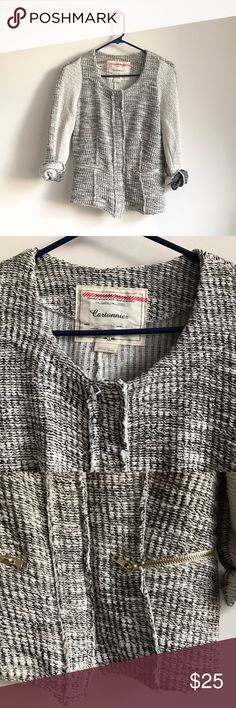 Cartonnier Anthropologie tweed blazer jacket Great preloved condition with no flaws to note. Cotton/polyester/acrylic/lurex mix. 2 front pockets. Snap button closure. Anthropologie Jackets & Coats Blazers