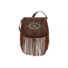Women's American West Pueblo Moon Fringe Crossbody Flap Bag - Chestnut... ($228) ❤ liked on Polyvore featuring bags, handbags, shoulder bags, brown, casual footwear, casual handbags, brown crossbody purse, brown leather pouch, fringe purse crossbody and purse crossbody