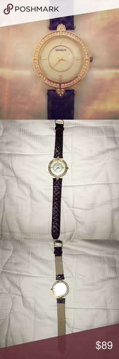 Beautiful purple Geneva ladies watch Purple colored Geneva Platinum Accessories Watches