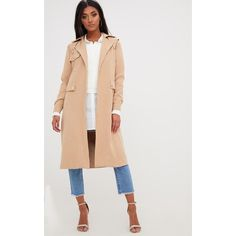 Beige Longline Belted Trench Coat ($41) ❤ liked on Polyvore featuring outerwear, coats, camel, camel trench coat, beige trenchcoat, camel coat, beige coat and belted camel coat