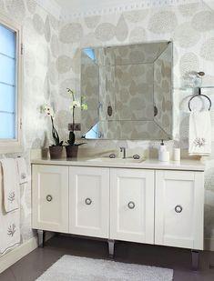 Vanity, wallpaper #Home #Decor #Bath - http://www.IrvineHomeBlog.com/HomeDecor/ ༺༺ ℭƘ ༻༻ - Christina Khandan - Irvine California Your Home Lease Specialist