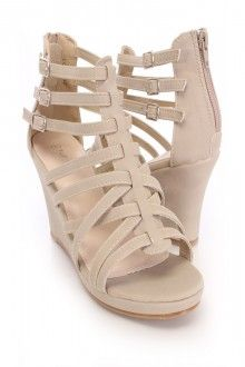 Beige Strappy Sandal Wedges Faux Leather