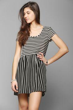 Two-Way Stripe Babydoll Dress