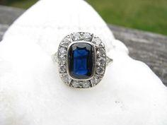Art Deco Diamond Halo Sapphire Ring, Platinum, Old European Cut Diamonds, Natural Blue Sapphire, 2.44 carats, GIA Certified Appraisal on Etsy, $3,000.00