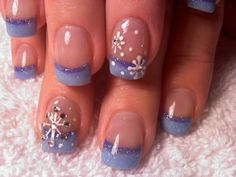 These are fun snowflake nails with glitter blue and purple smile line. I would not add the crystals ...