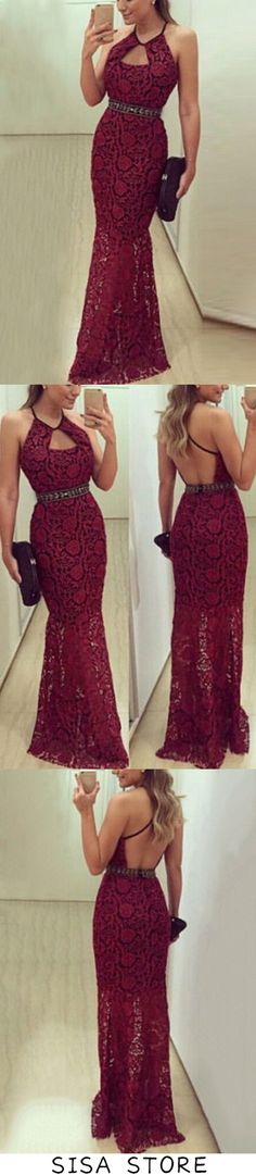 2019 Spaghetti Straps Mermaid Lace Evening Dresses With, This dress could be custom made, there are no extra cost to do custom size and color Lace Evening Dresses, Formal Dresses, Affordable Prom Dresses, Elastic Satin, Fabric Swatches, Spaghetti Straps, Custom Made, Tulle, Mermaid