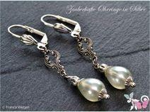 Vintage Ohrhänger Tropfen 925 Silber weiß Perle