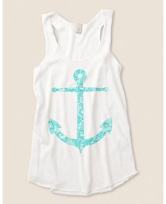 Lace Anchor Nautical Eco Friendly Racerback Tank Top, anchors are one of my true ubsesions Cute Fashion, Fashion Outfits, Womens Fashion, Fasion, Sweet Fashion, Racerback Tank Top, Dress To Impress, Spring Outfits, Cute Outfits