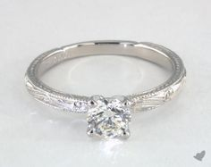 Round, Romantic Solitaire Hand-Engraved Diamond Engagement Ring in Platinum by James Allen® Engagement Rings Without Diamonds, Round Solitaire Engagement Ring, Engagement Ring Styles, Designer Engagement Rings, Diamond Heart, Diamond Rings, Gemstone Rings, Diamond Settings, Diamond Design