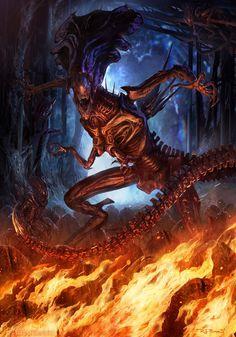 The Geeky Nerfherder: 'Alien Queen' by RJ Palmer Alien Vs Predator, Predator Alien, Predator Series, Xenomorph, Alien Creatures, Fantasy Creatures, Rj Palmer, Arte Alien, Alien Convenant