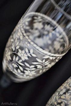 Свадебные бокалы, роспись по стеклу